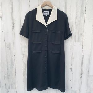 Vintage 80s Black Button Up Career Shift Dress
